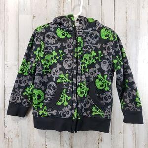 Healthtex Boys Hoodie Black Gray and Green Skulls